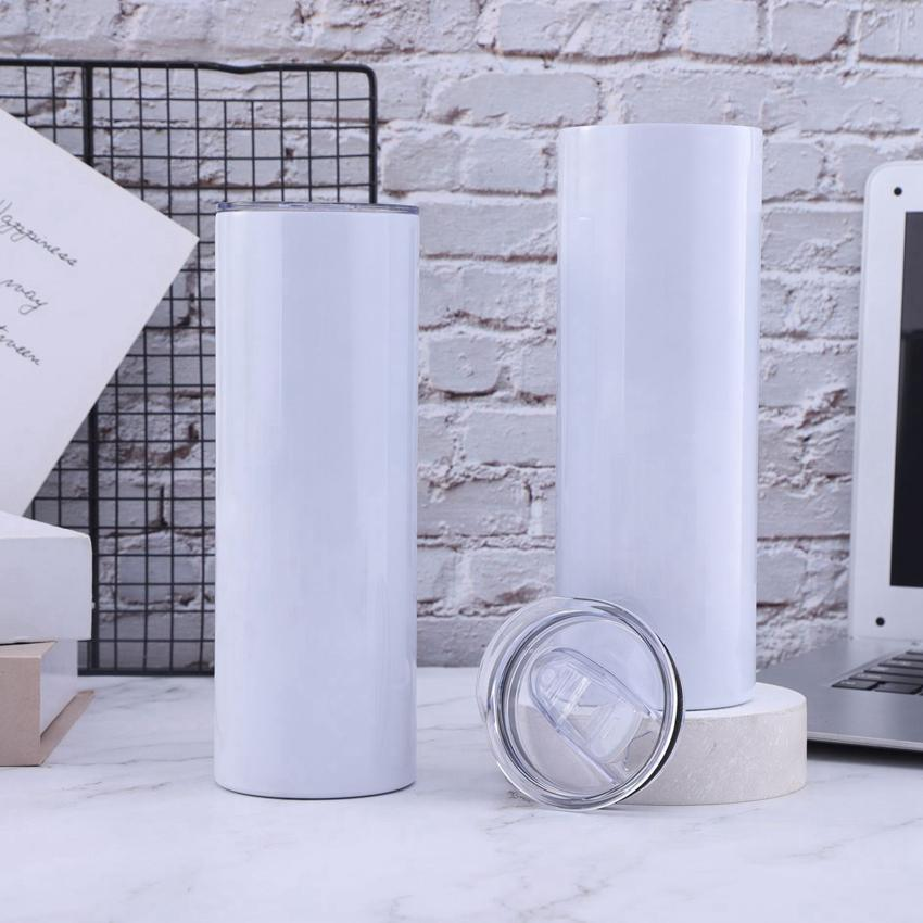 SUBLIMATION 20OZ Skinny Skinny Banches Straight Acier Inoxydable Tasses à café avec couvercle et paille en plastique Sappy Cups Cyz3218