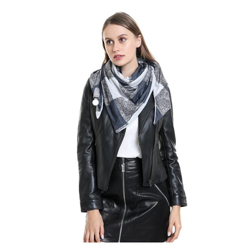 Winter Cashmere Plaid Scarf Printing Button Soft Wrap Casual Warm Scarves Shawls 2021 Designer Brand