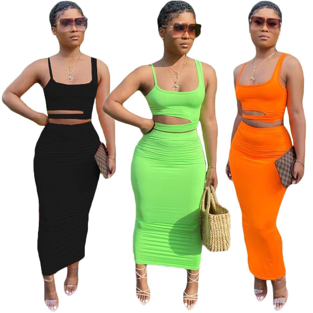اثنين من قطعة اللباس الصيف فساتين النساء + الأعلى قصيرة أكمام السباغيتي حزام مجموعة من الجوف خارج الترفيه تنورة نمط تنورة المرأة الملابس زائد الحجم s / m / l / xl / 2xl / 3xl