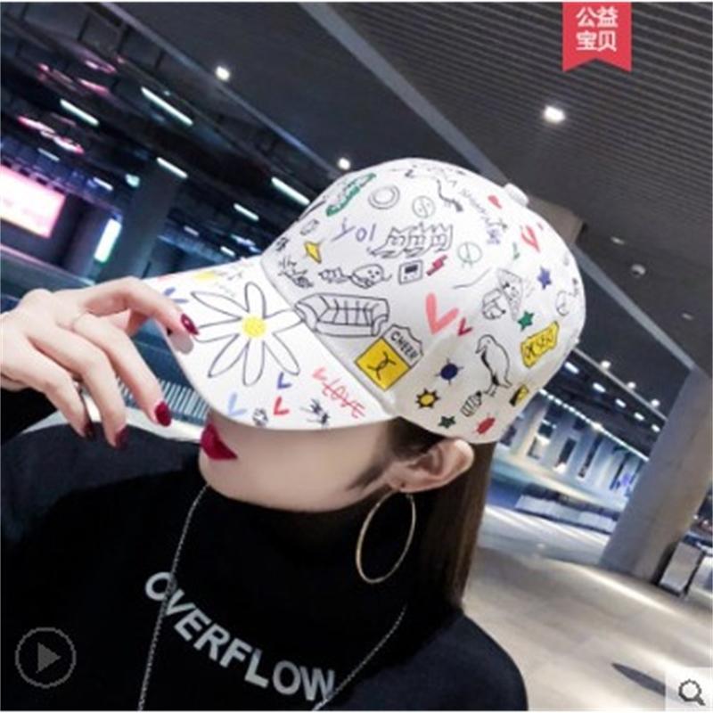 Güney Kore 2021 Bahar ve Yaz Quan Zhilong Aynı Kadın Kore Versiyonu Gelgit Graffiti Baskılı Güneş Şapka Beyzbol Şapkası