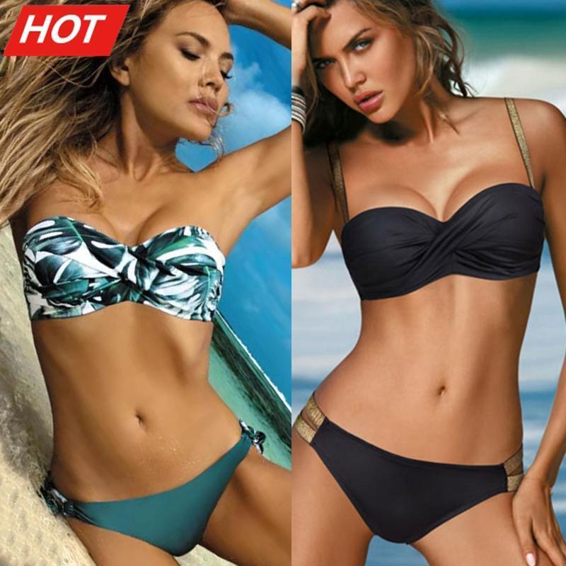 Sexy Solid Color Bikini Women Swimwear Bandeau Biquini Swimsuit Female Bathing Suit Push Up Set Beachwear Women's