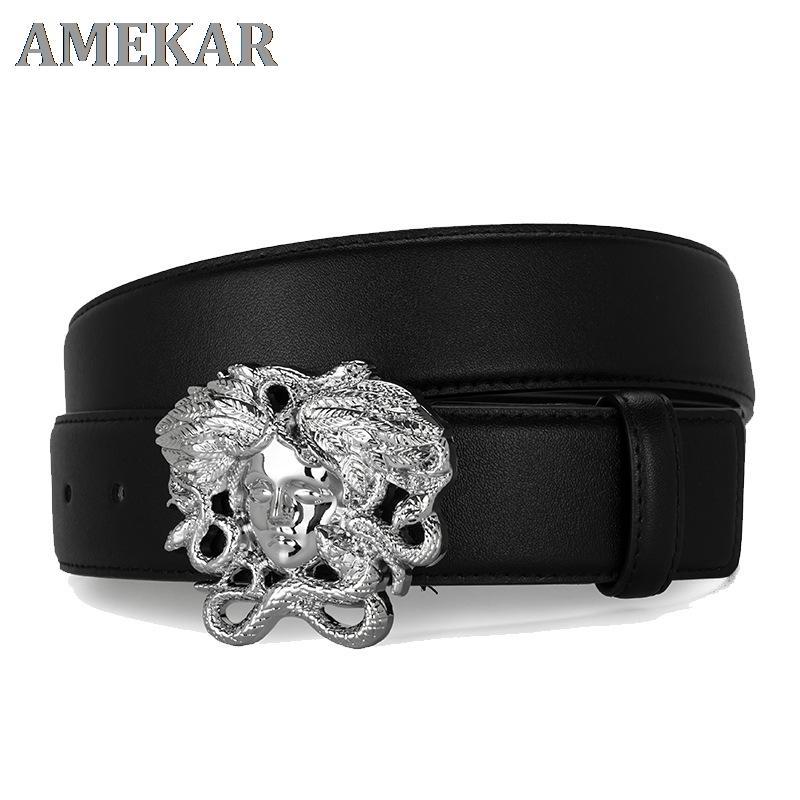Cintura in vera pelle Mens Brand Snake Hair Dermal Snake Cinturon Medusas Grande cintura d'oro di lusso