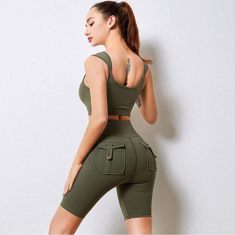 Women Two-piece Sets Ins Knitting Sexy Gym Workout Running Sports Wear Short Bra Suit Tracksuit Fitness Set With Pocket Women's Tracksuits