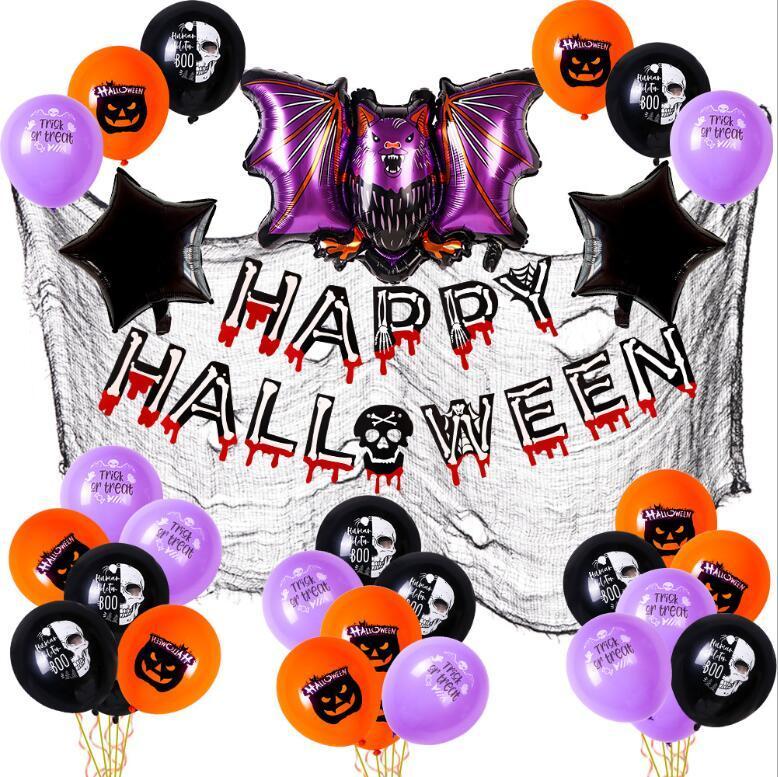2021 Halloween Balloon Garland Arch Kit Helium Balloons Palloncini Set per Halloweenday Decorazioni per feste Halloweens Ornamento Puntelli