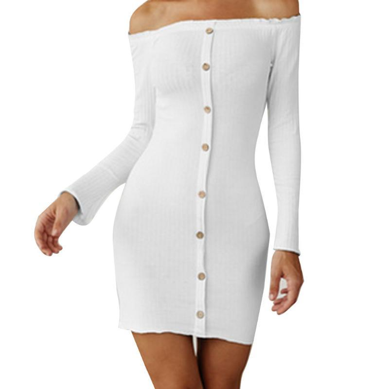 Women Sexy Long Sleeve Off Shoulder Dress Fashion Solid Color For Ladies Casual Dresses
