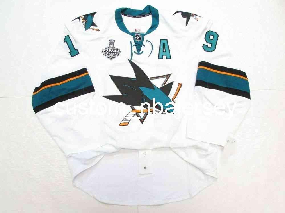 Ricamo Thornton San Jose Sharks Team Edizione Stanley Cup Jersey Uomo personalizzato Hockey Jersey Aggiungi qualsiasi nome Nome