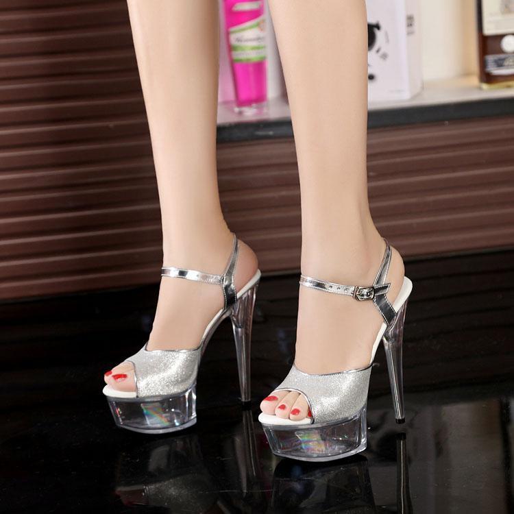 Gece Kulübü Seksi Kalın Alt Araba Modelleri Ayakkabı 15 cm Yüksek Topuklu Sandalet Gümüş Sequins Düğün Artı Boyutu 34-43 Elbise