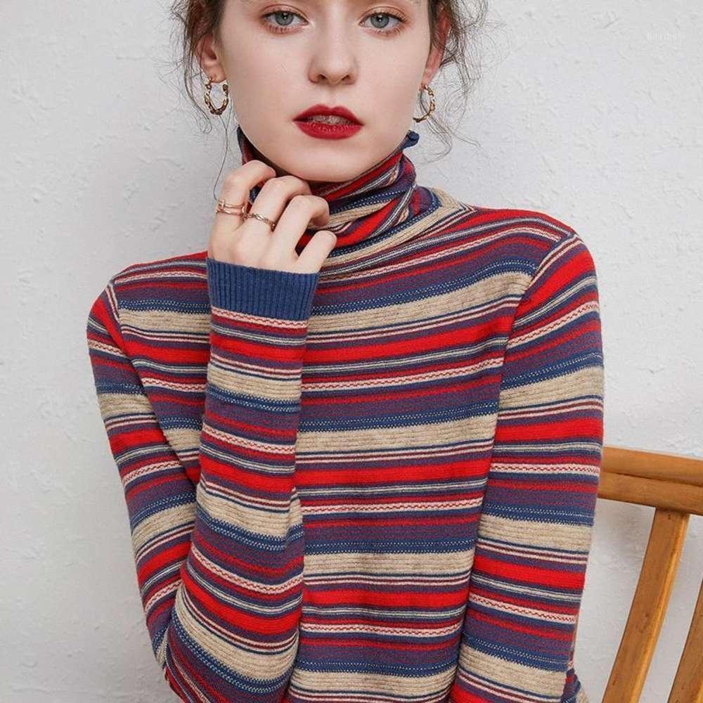 2020 새로운 겨울 Turtleneck 캐시미어 스웨터 여성의 국가 스타일의 단락 긴 소매 Chromatic 컬러 풀오버 스웨터 1