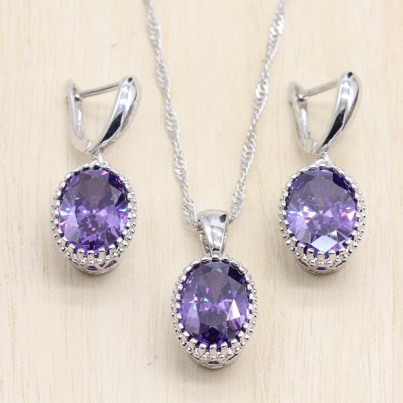 Earrings & Necklace Silver Color Jewelry Sets Purple Light Blue Cubic Zircon Earrings/Pendant/Necklace J