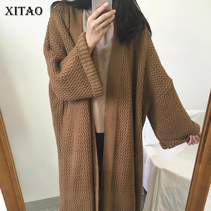 Xitao Повседневный свитер Женщины зимний прилив мода новый длинный стиль v шеи воротник длинный всплеск рукава свободный матч все элегантный dzl22981