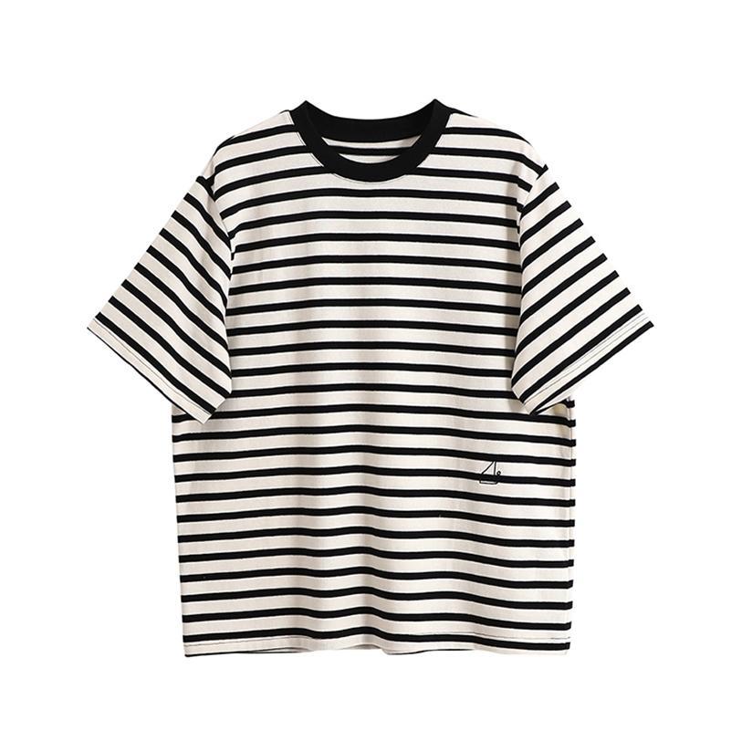 Bebobsons Casual Gevşek Kadın Pamuk T-Shirt Siyah Şerit Baskı Beyaz Yelkenli Nakış Kısa Kollu Bayanlar Tshirt Tees Top 210515