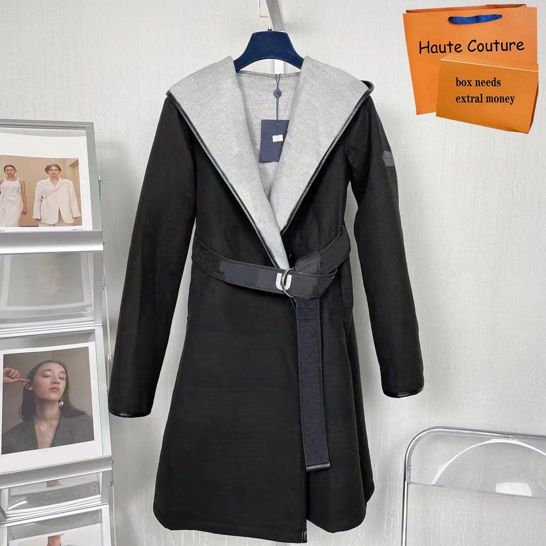 Uzun Sonbahar Kış Kadın Paltolar Moda Sıcak Ceketler Parka Casual Mektup Baskı Lady Coat Esnek Kemer Ile Yüksek Kalite Dış Giyim