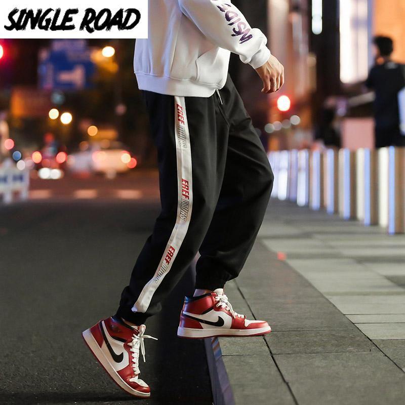 Singleroad Herren Joggers Männer Harem Hosen Seite Gestreifter Hip Hop Japanische Streetwear Cargo Hose Männliche Jogginghosen Mann