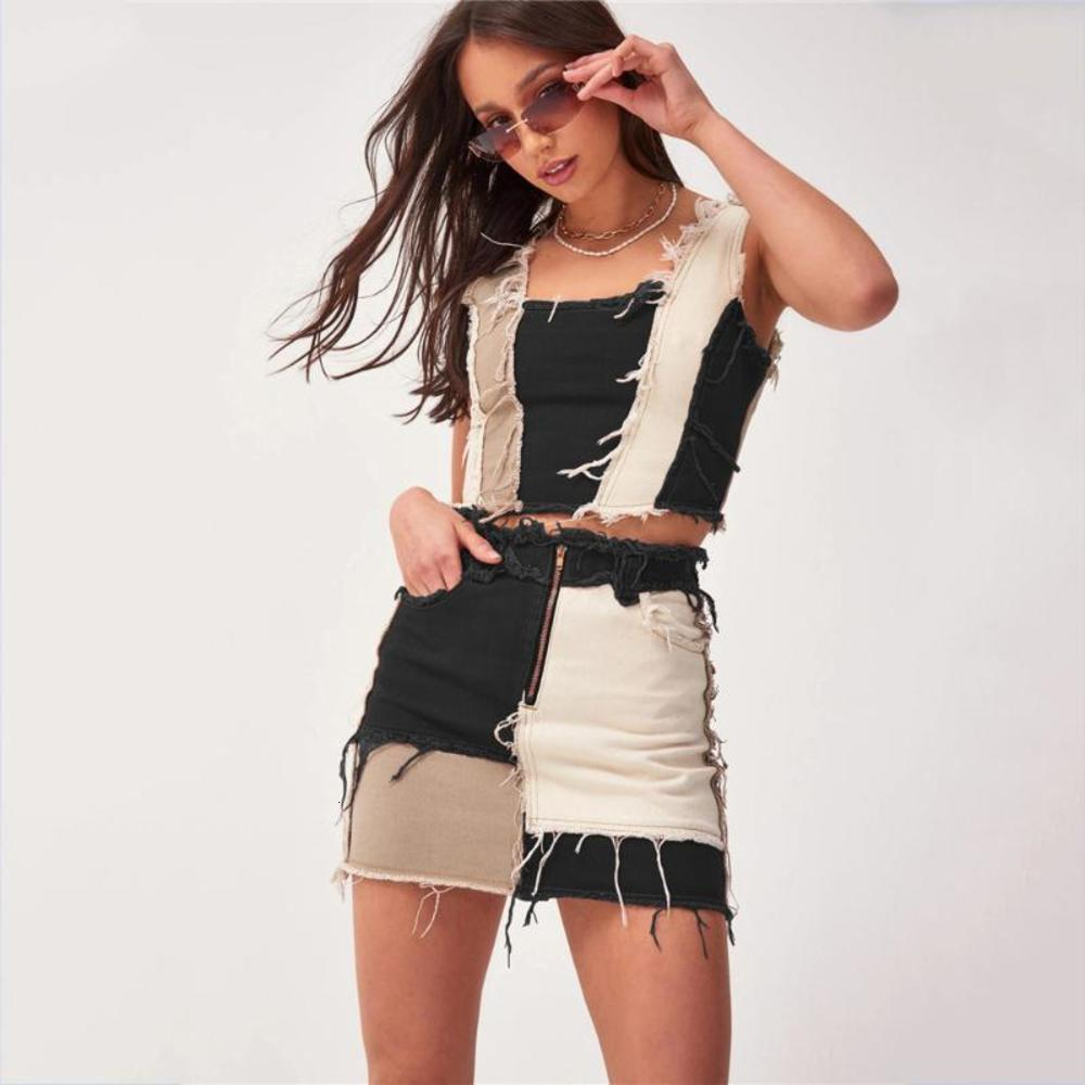 Женские лоскутные джинсовые высокие талии A-Line юбки с карманами Осенняя уличная одежда цветной блок на молнии сексуальная мини юбка