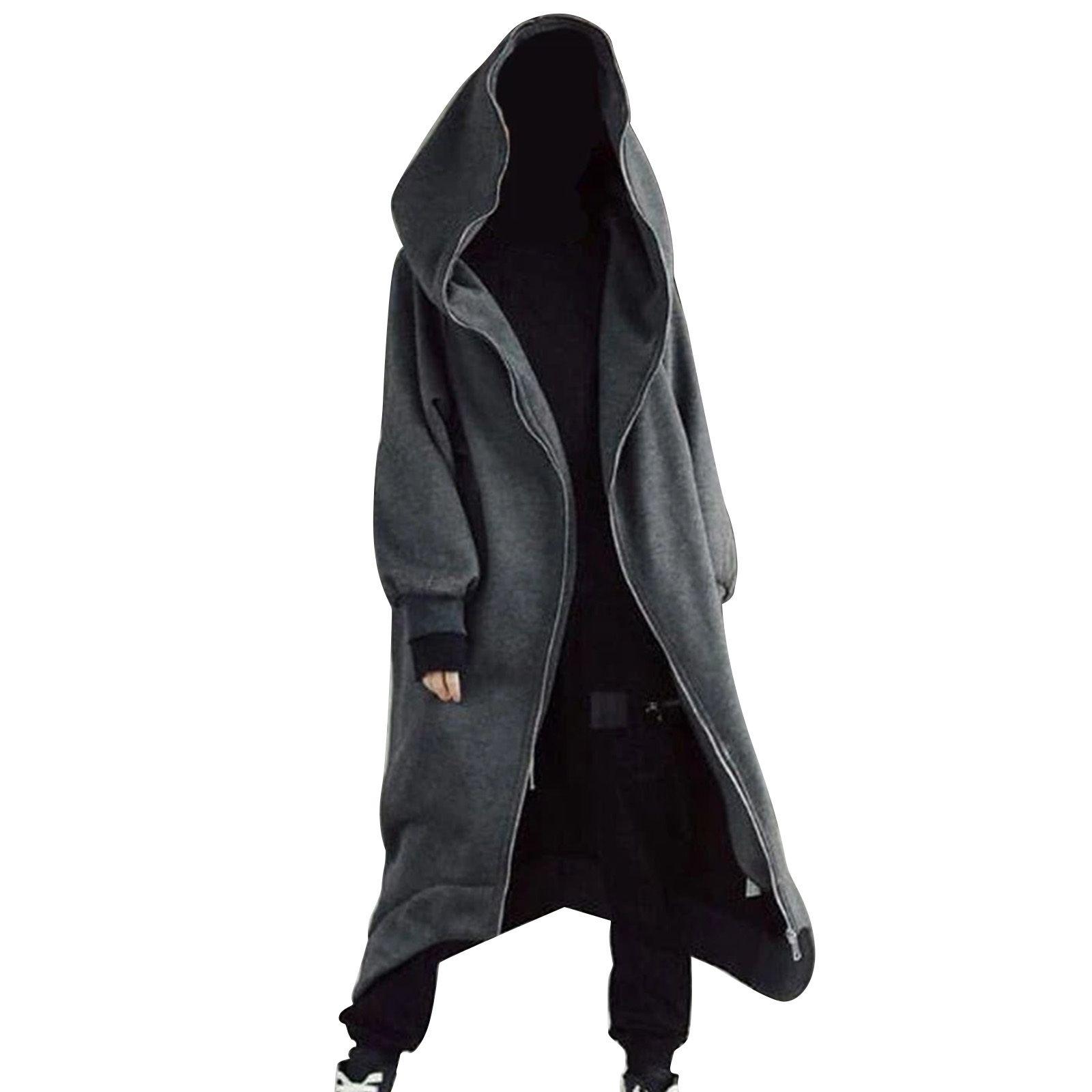 Mode Unisex Hülse mit Kapuze Nazgul Mantel Reißverschluss Fleece gesäumt Langer Hoodie warm warm