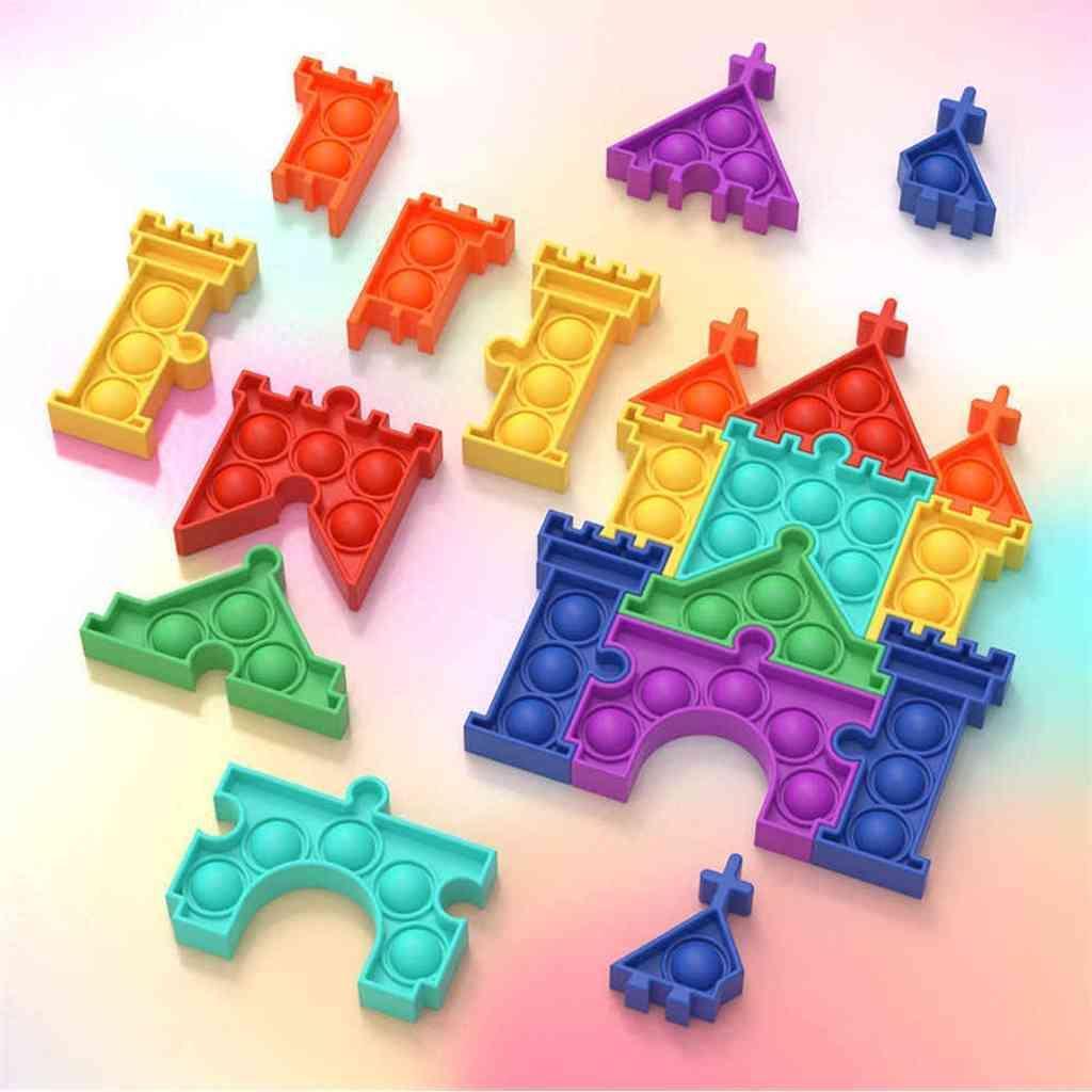 Kids Toy Puzzle Puzzle Fidget Toys Castle Push Bubble Poppers Childrens Desktop Poo-sus niños Party Supplies Color Castles Set G59WMCP