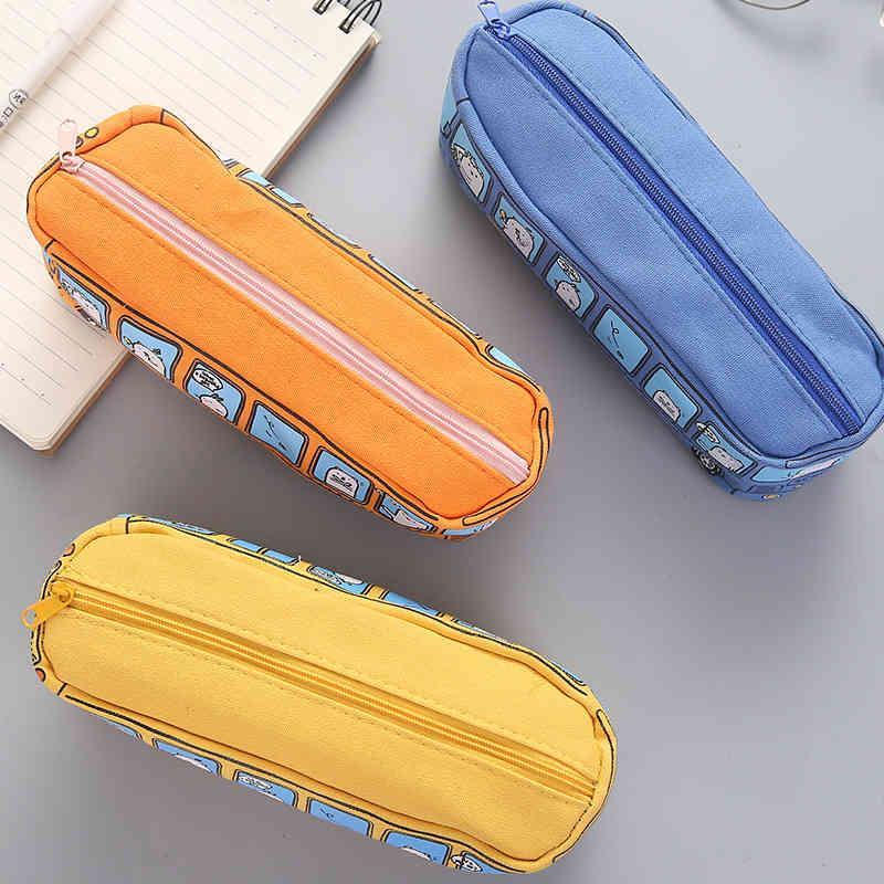 Bleistift-Taschen XGZ 4 stücke Stereo-Bus-Schule Bus-Student-Briefpapier-Tasche-Box Männer und Frauen Leinwand XGFV