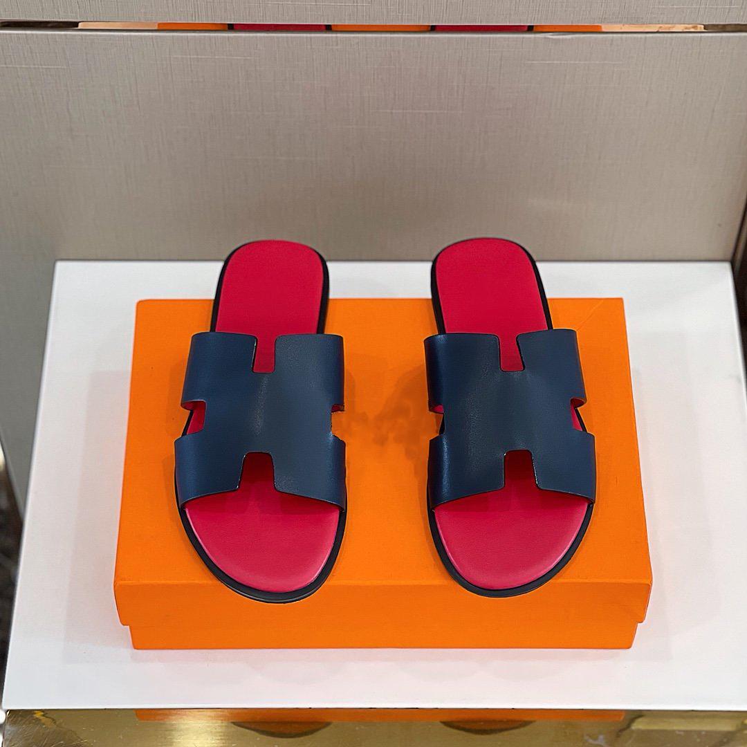 Hermes Yüksek kaliteli moda geniş yaz sandalet marka düz rahat erkek terlik boyutu 38-45