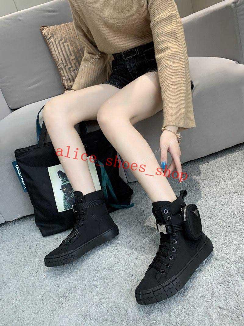 Prada boots Zapatos para niños 2021 Hombres Moda Calidad Cuero Damas de Pocket Lienzo Lienzo Encaje Suela gruesa Sin deslizamiento Resistente al desgaste Casual Sports High Boots