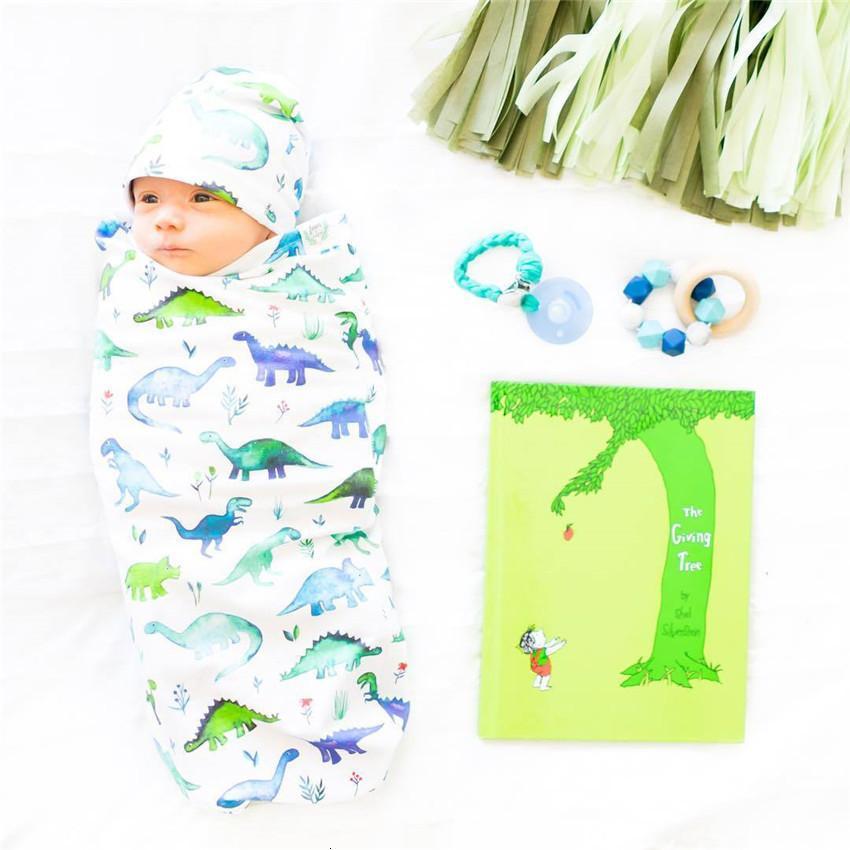 2020 прекрасные детские спальные мешки шляпы новорожденных хлопок мультфильм динозавр печатание спать мешки малыша пешеходные крышки пешеходное одеяло E22602