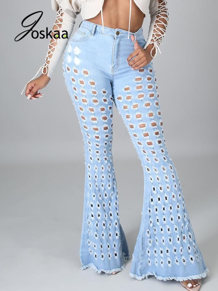 Jeans das mulheres Joskaa Zipper Sólido Up Button Skinny Rasgado Denim Calças Mulheres Stretchy Buraco Fared Primavera Outono 2021 Party Clubwear