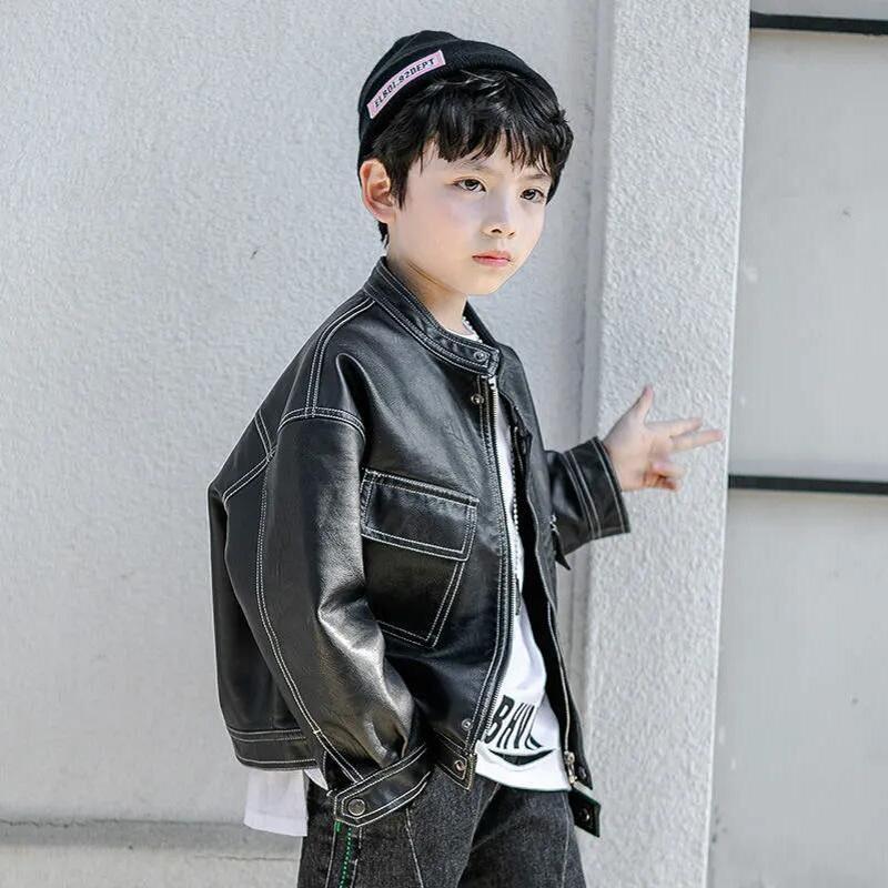2022 ربيع الخريف 4-15Y الاطفال ملابس الأولاد بو معطف للأطفال أزياء جاكيتات جلدية الفتيان الأطفال معاطف الملابس
