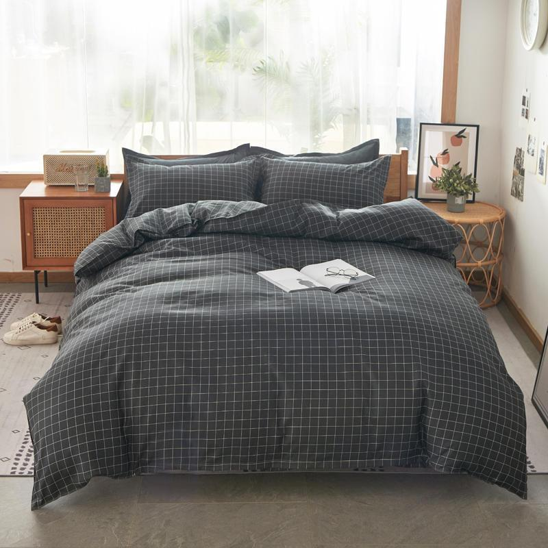 Home Textile Plaid Black White Bettwäsche Sets Einfache Leinen Junge Mädchen Kind Erwachsene Bettbezug Kissenbezug Flache Blatt Twin King