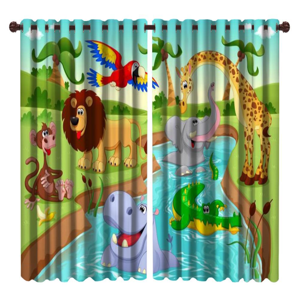 3d Animal Blackout Curtain Giraffe and Lion Group of Cute Animals Cartoon Mural Home Decor Children's Room Window Curtains