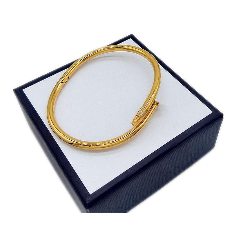 Goldene Silber Zirkon Diamant Titanium Stahl Nagel Armreif Armband Männer und Frauen Designer Klassische Mode Luxus Schmuck Nicht verblasst Hypoallergen