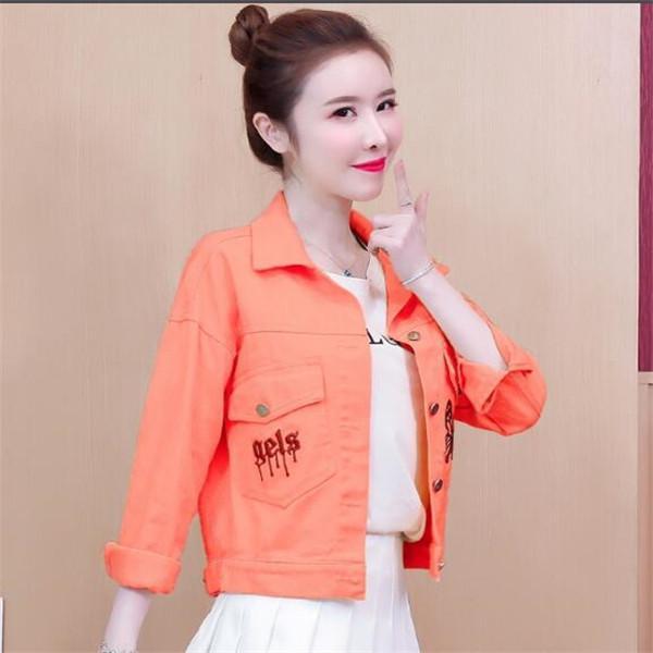 2021 primavera e autunno nuova giacca da donna color denim sciolto caramelle casual ricamo giacche top vestiti tuta sportiva cappotti