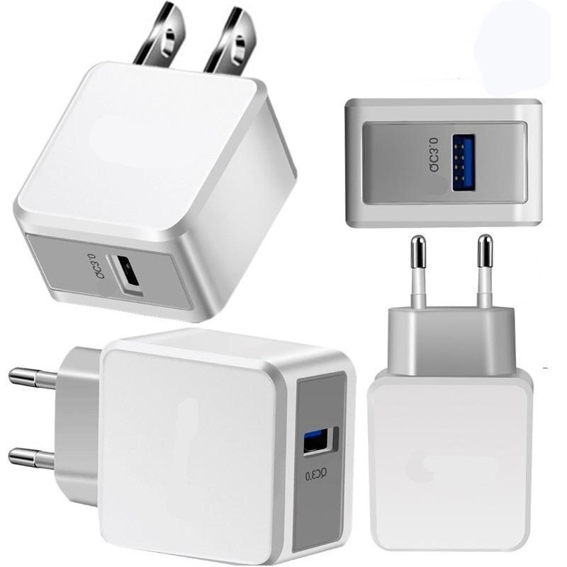 الاتحاد الأوروبي الولايات المتحدة QC 3.0 5 فولت 2.4a شحن سريع الجدار شاحن محول الطاقة لفون 7 8 × 10 سامسونج HTC PC MP3