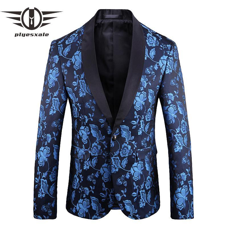 Men's Suits & Blazers 2021 Blue Velvet Blazer Hombre Mens Slim Fit Jacket 5XL Flower Pattern Fashion Printed Party Prom For Men Q743