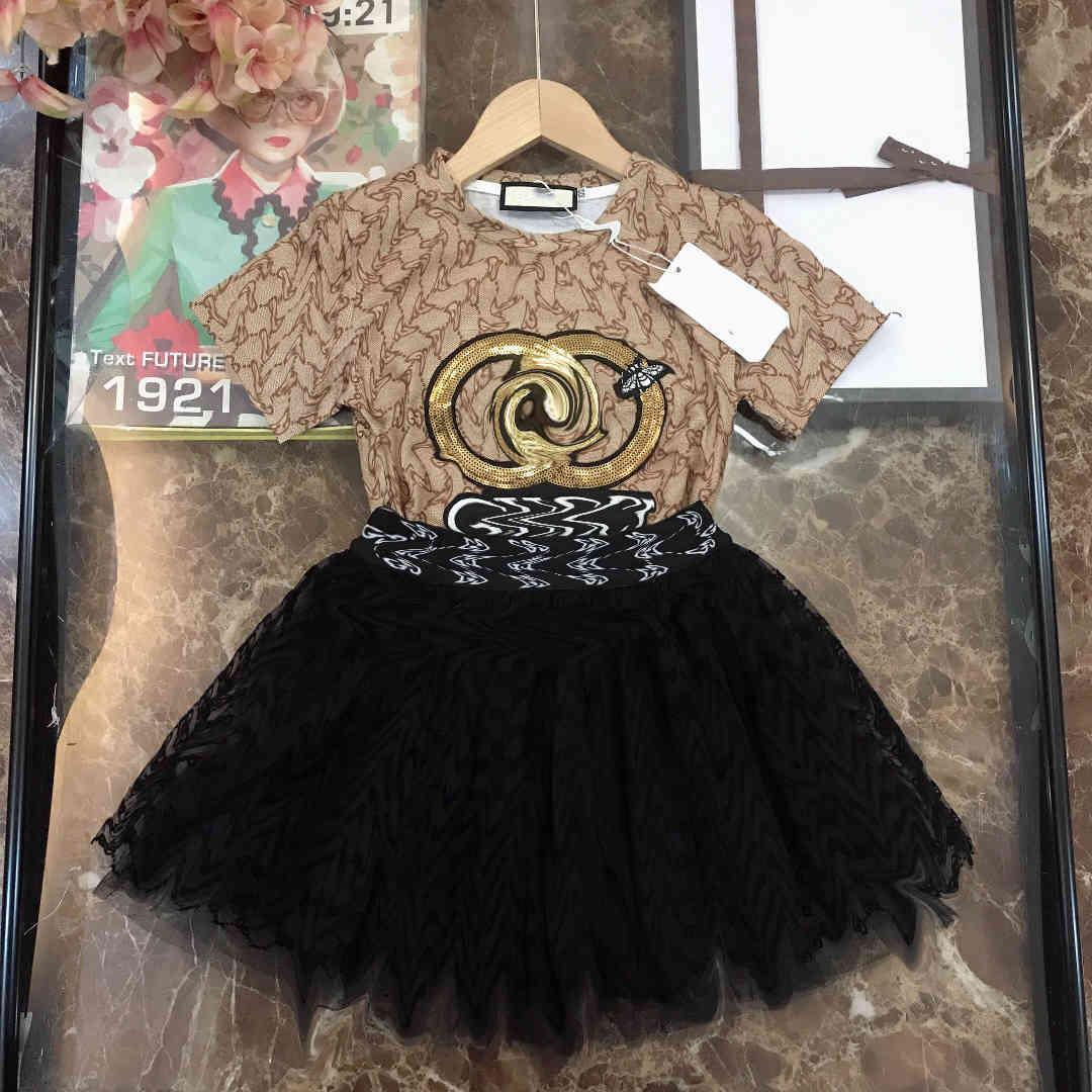 2021ss baby girl dress high quality lace dresses summer designers clothes kids cotton enfant designer t shirts two piece black short
