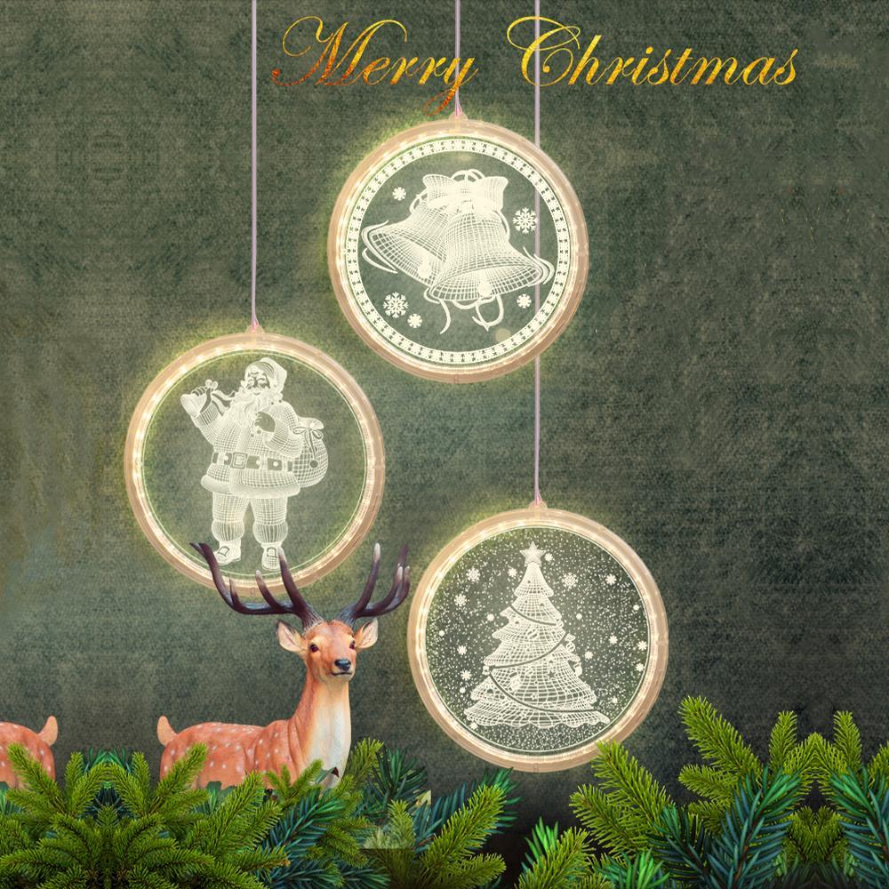 Luz de noite levou luzes de Natal luzes de fadas redonda lâmpada 3D Santa Claus com sucção para janela janela decoração