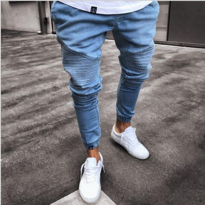 NOUVEAU Noir Jeans Hommes avec des trous Super Skinny célèbre marque de marque Slim Fit Fit Détruit Pantalon Jean déchiré pour homme