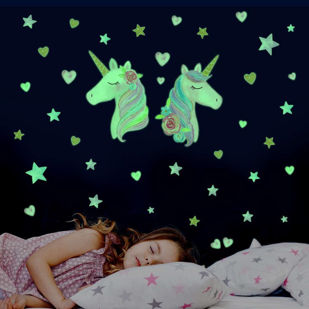 Adesivo Luminoso Unicorn Star Wall Decoração Decoração Criativa dos Desenhos Animados Fluorescentes