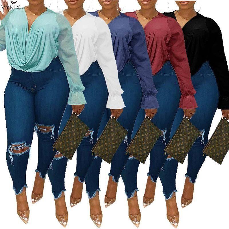Plus größe 5xl koreanische stil geraffte patchwork v-neck flare langarm blusen shirts shirts dame femme streetwear womens tops kleidung frauen