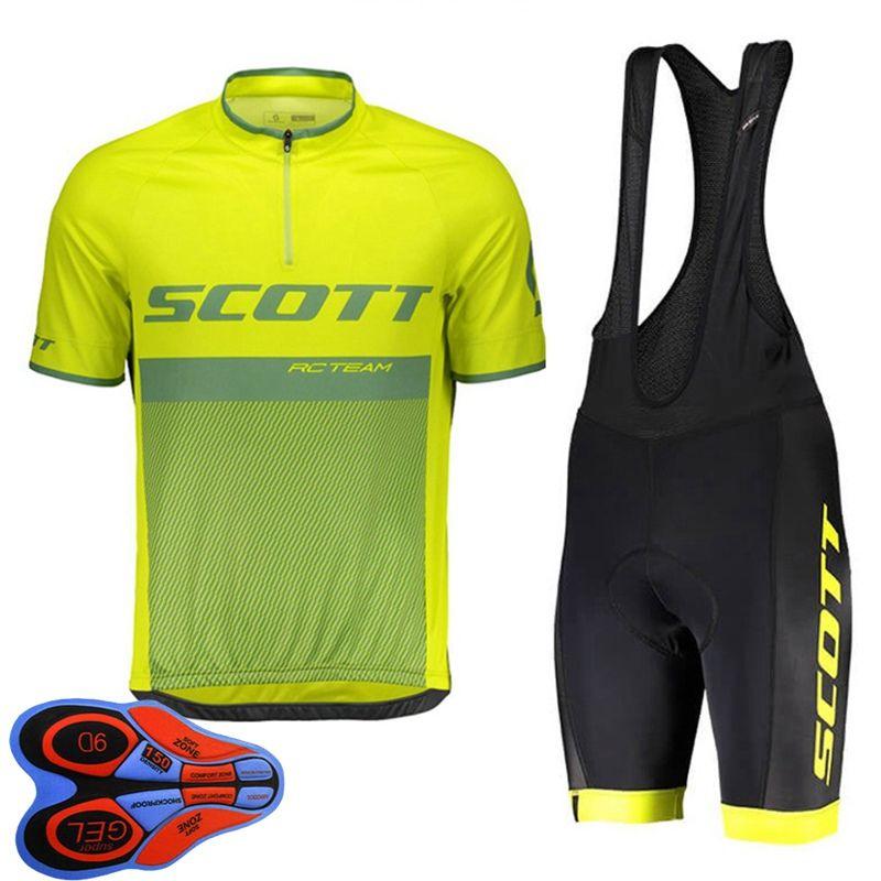 2021 verano Scott Team Mens Cycling Jersey Jersey Camisa de manga corta Camisa de babero Pantalones de babero Conjuntos Ropa de carreras de secado rápido Tamaño XXS-6XL Y21041042