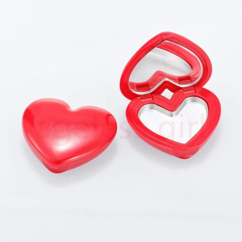 Depolama Şişeleri Kavanoz 30/50/100 adet Kalp Şeklinde Göz Farı Ruj Ayna ve Dudak Fırçası ile Kompakt