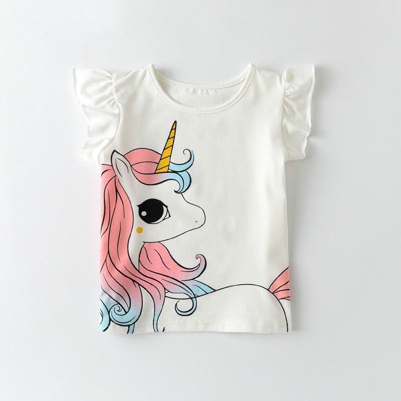Melario Summer Unisex Unicorn T-shirts Fashion Children Boys Short Sleeves White Tees Baby Kids Cotton Tops for Girls Clothes 210412