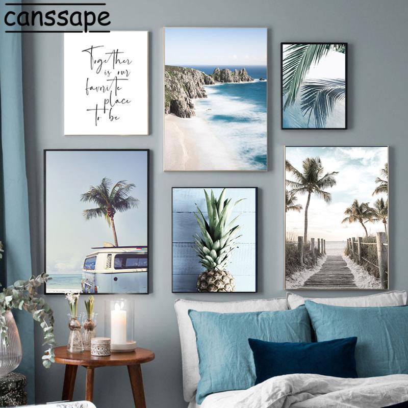Pinturas Paisaje Natural Arte de la pared Pintura de lienzo Paisaje marino Costa Línea Playa Impresiones Coco Árbol Imágenes Sala de estar Decoración