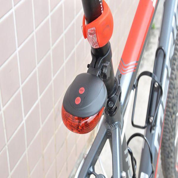 Lámpara de ciclismo láser de bicicleta Lámpara LED Lámpara Luz de bicicleta Luz trasera de la bicicleta (2 láser + 5 LED)