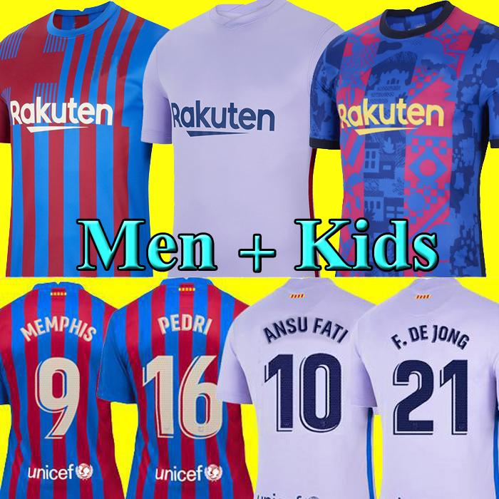 Maillots de football du MEMPHIS FC Barcelone BARCA 20 21 22 Barcelona  KUN AGUERO ANSU FATI 2021 2022 GRIEZMANN F. DE JONG DEST kit chemise hommes enfants ensembles