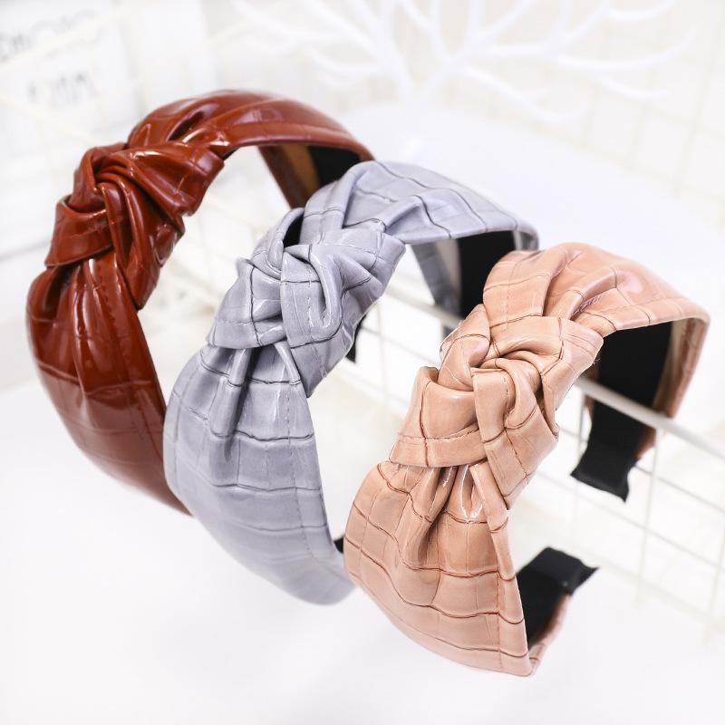 Retro fascia annodata fatta a mano in pelle di cuoio di cuoio di cuoio di cuoio delle donne accessori per capelli femminili della testa di pelliccia del cerchio della testa della pelliccia coreano copricapo alla moda