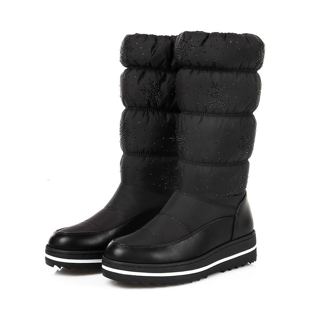 Kadın Strass Kış Çizmeleri Için Isumer ER Kar Kaliteli Dnon geçirmez Kaymaz Su Alt Pamuk Ayakkabı