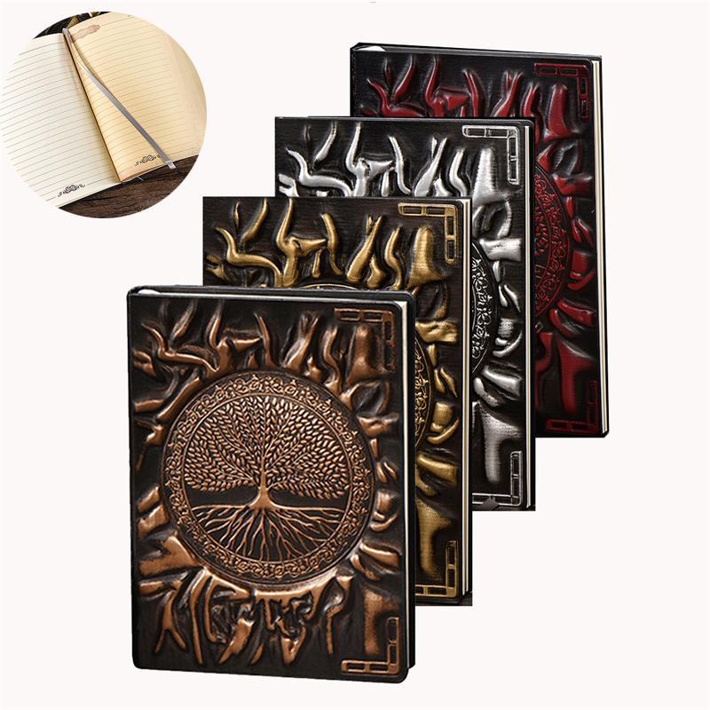 Anaglyph 노트북 레트로 플래너 엠보싱 가죽 메모장 여행 일기 Bronze Book A5 Lined Journal School Supplies KDJK2104