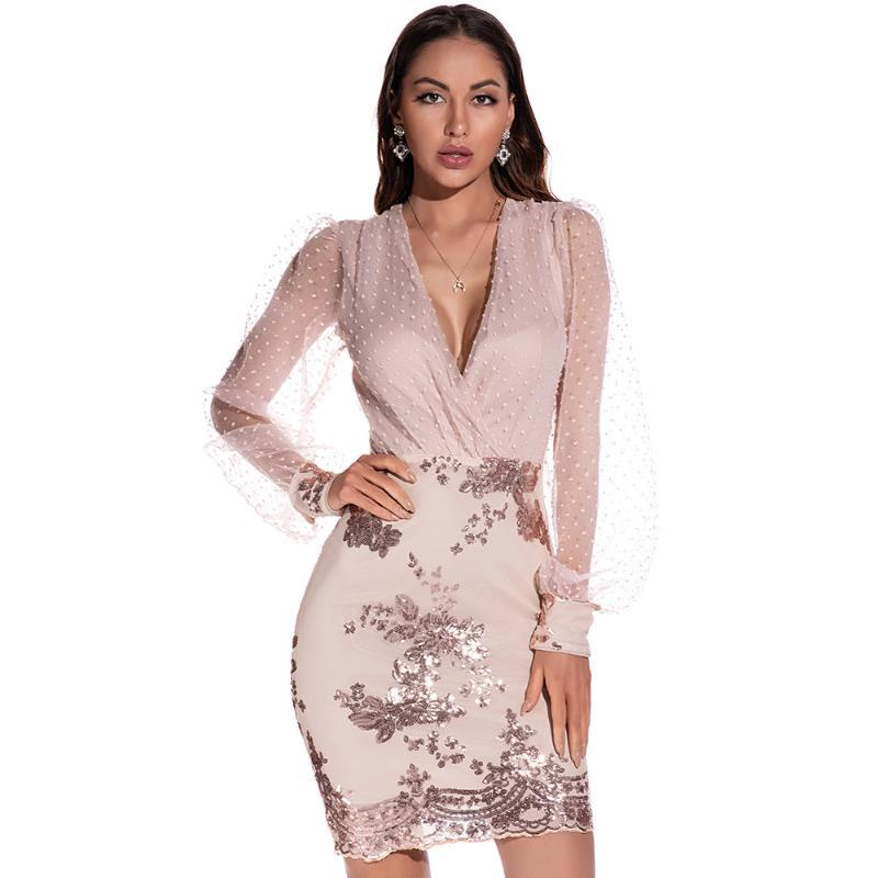 Casual Dresses European Style Woman Party Dress Fashion V-neck Bling Bodycon Mini Banquet
