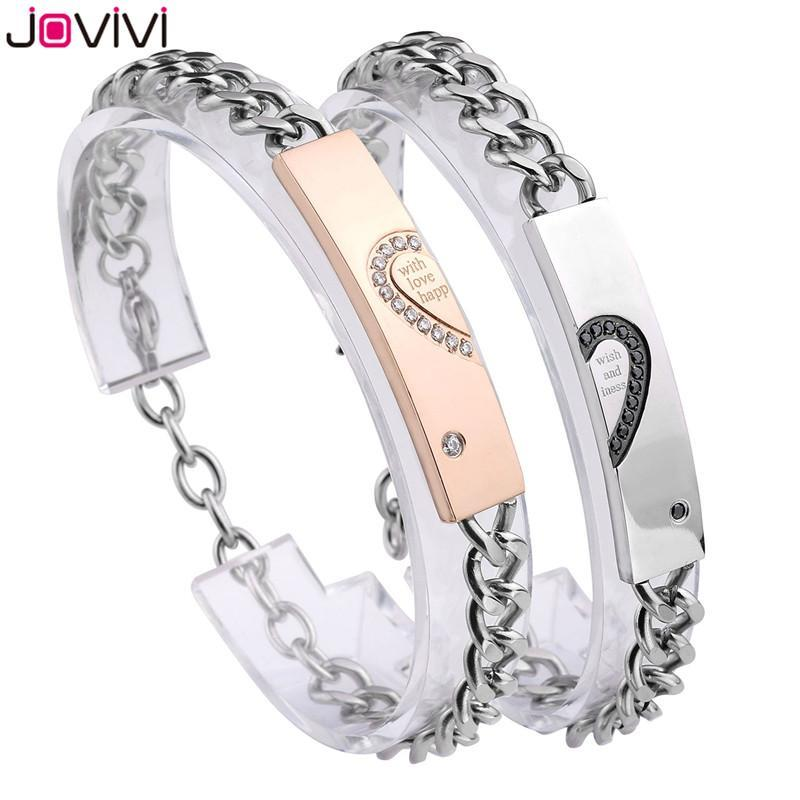 """Jovivi Couple Bracelets """"with Wish Love And Happiness"""" CZ Stainless Steel His&Hers Heart Matching Sets Valentines Day Gift Link, Chain"""