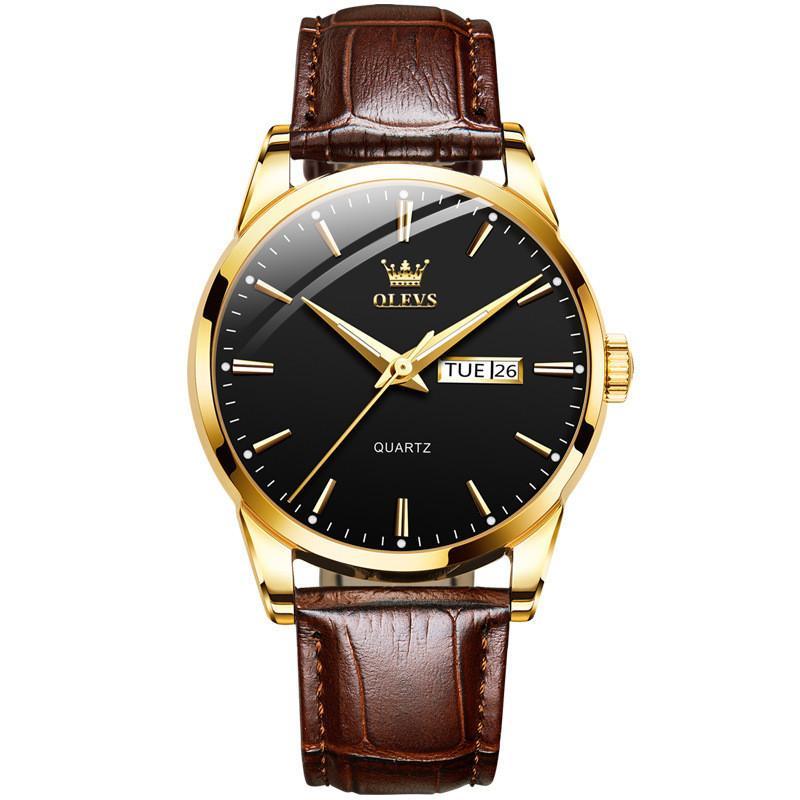 남자 손목 시계 30m 방수 럭셔리 쿼츠 손목 시계 남성의 정품 가죽 갈색 핸드 밴드 로즈 골드 케이스 시계 Reloj Masculino