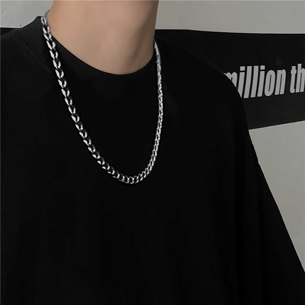 Colar Titânio para Homens e Mulheres Metal Sollsteel Cuban Link Chain Na Trendy Gold Prata Cor Jóias Moda CN (Origem) Y0528